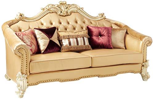 ACME Vendome II Gold Patina Sofa with 5 Pillows