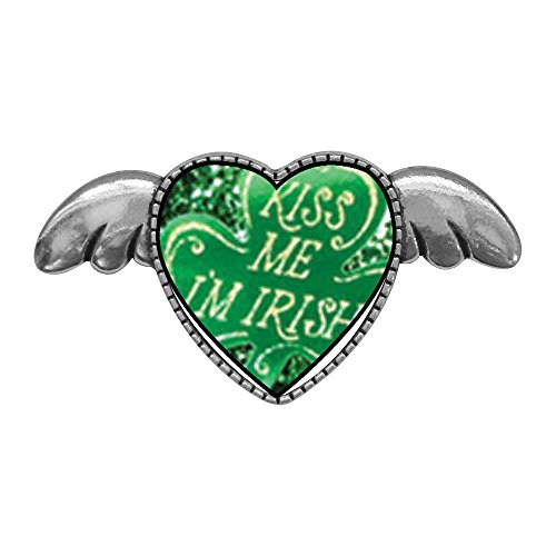 GiftJewelryShop Ancient Style Silver Plate Kiss Me I'm Irish Heart with Simple Angel Wings Pins Brooch