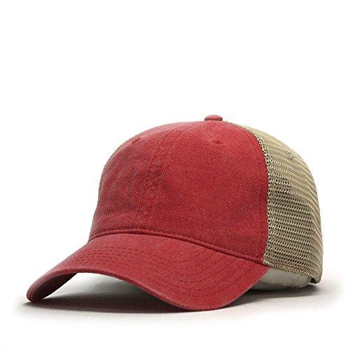 Vintage Washed Cotton Soft Mesh Adjustable Baseball Cap (Red/Red/Khaki)