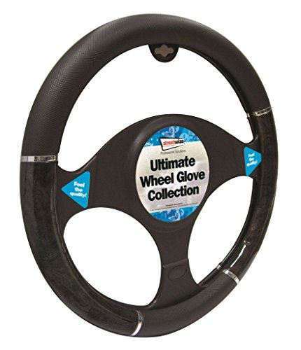Peugeot 2008 Black & Grey Metallic Steering Wheel Cover Glove 37cm: