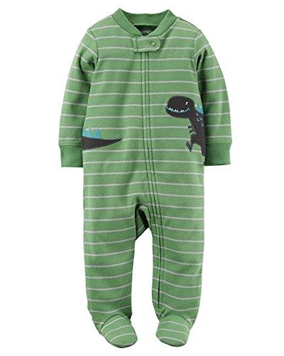 Carter's Baby Boy's Green Dinosaur Stripe Sleeper Preemie