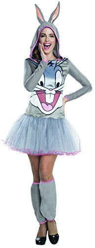 Rubie's Women's Looney Tunes Bugs Bunny Hooded Costume Dress, Gray, Large