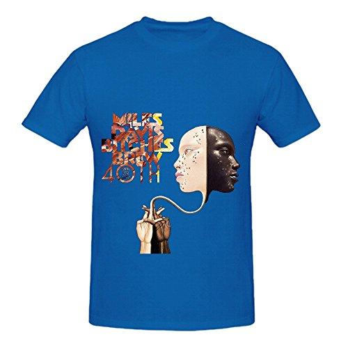 Miles Davis Bitches Brew Soul Album Cover Men Crew Neck Music Shirts Blue