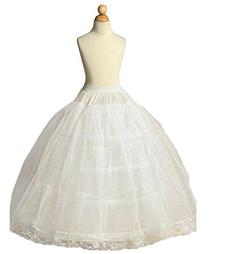 [Dobelove Girls 3 Hoops Full Slip Crinoline Petticoat Skirt (OneSize, White)] (Petticoat Crinoline Slip)