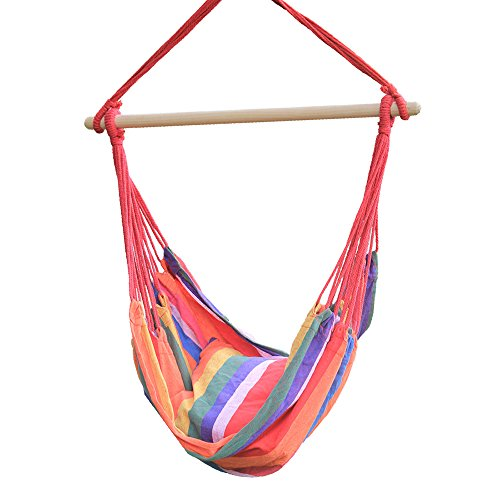 Hi Suyi Lounging Hanging Rope Hammock Swing Chair Seat for Indoor or Outdoor Garden Patio Yard Bedroom With Cushion and Wooden Bar by Hi Suyi