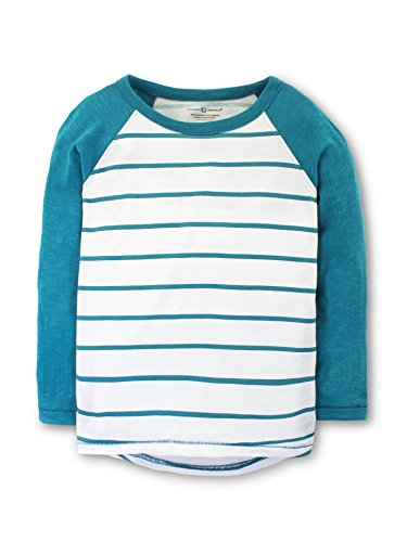 Colored Organics Girls Hadley Hi-Low Baseball Organic Crew Tee - Penn Stripe/Ocean - 9/10 (Crew Penn Shirt)