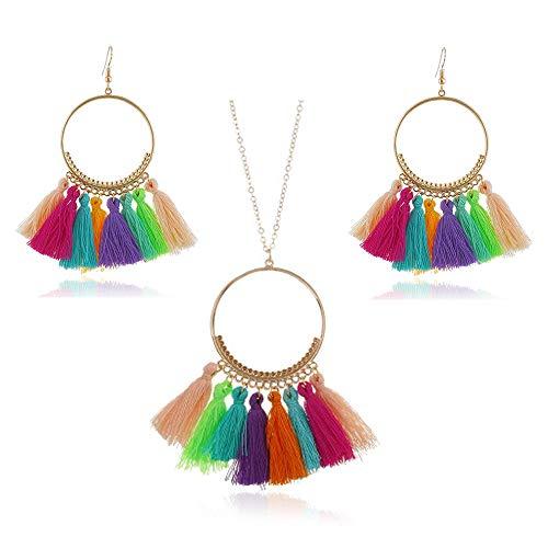 - GaFree Women Colorful Bohemian Tassel Earrings Necklace Jewelry Sets Fashion Thread Fringe Long Pendant Necklace Chain Dangle Drop Earrings (Multi-Colour)