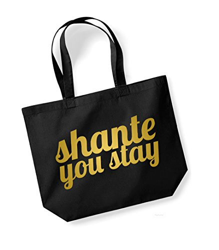 Slogan Tote Vs Bag Stay Canvas You Shante Black Large Sided Fun gold Double Away Sashay x7nFv