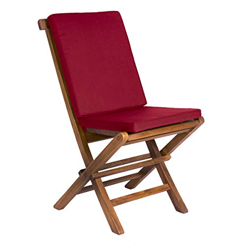 All Things Cedar TF22-R Teak Folding Chair with Cushion, Red