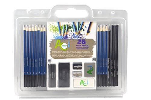 Andalus Color 26 Piece Drawing and Sketching Pencils Set - Includes Graphite and Charcoal Pencils & Sticks by Andalus Color