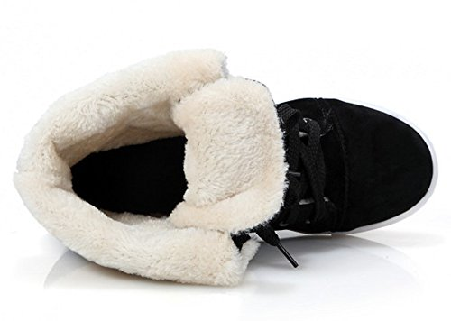 Idifu Donna Caldo Piega Completamente Foderato In Pizzo Piatto Stivali Da Neve Alla Caviglia Stivaletti Invernali Alti Neri