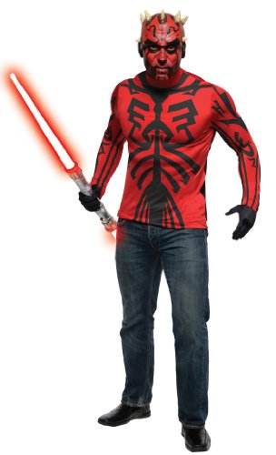 Darth Maul Costume Makeup (Star Wars Deluxe Darth Maul Costume Kit, Red/Black, Standard)