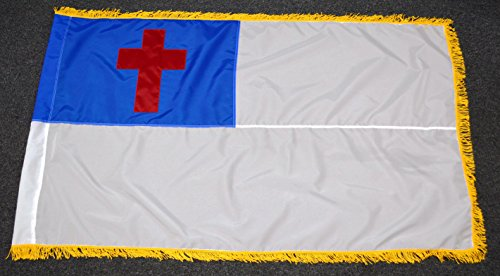 US Flag Factory 3'x5' Indoor Christian Flag (Sewn Cross) with Pole Sleeve and Gold Fringe - 100% American Made - SolarMax Nylon - Premium (Gold Fringe American Flag)