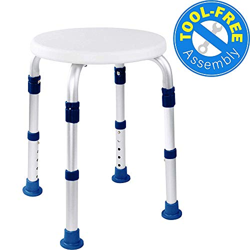 Discover Bargain Medical Tool-Free Assembly Adjustable Swivel Shower Stool Seat Bench with Anti-Slip Rubber Tips for Safety & Stability