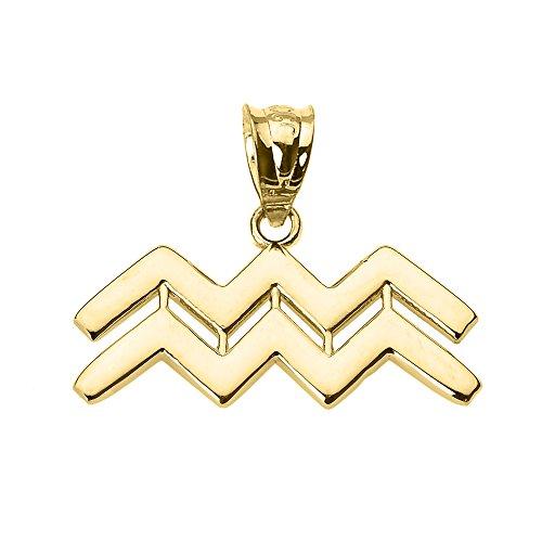 Astrology Jewelry Personalized 10k Yellow Gold Aquarius Zodiac Sign Charm Pendant
