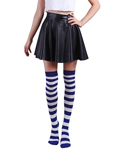 HDE Womens White Striped Stockings