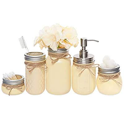 Mkono Mason Jar Bathroom Accessories Set 5 Pack Painted Jars Bathroom Organizer Farmhouse Rustic Country Countertop Fall Decor Include Soap Dispenser,Cotton Swab,Makeup Sponge,Tissue,Toothbrush Holder - Mkono beautiful 5 piece mason jar bathroom accessories set. Just perfect for organizing your bathroom or adding style to your room. This darling set will make the perfect housewarming or wedding gift that everyone will love. Color would be more like cream yellow hope you like. Each jar has been painted with high quality paint, distressed lightly and sealed to have a gorgeous lasting finish. This mason jar set will add some rustic beauty to your bathroom, powder room,office and so more.It really makes a huge difference in your home decor. All the mason jars includes a rust resistant lid which is an absolute must for the quality.Each jars also inludes decorative hemp rope , give your home rustic farmhouse country chic Christmas bathroom decor. - bathroom-accessory-sets, bathroom-accessories, bathroom - 41SBFHchOXL. SS400  -