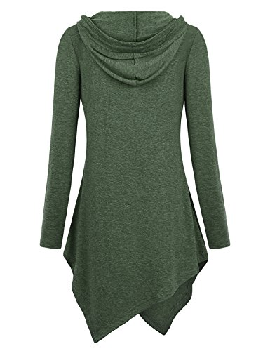 Miagooo Uneven Hemline Hoody Shirt Pocket Tunic Long Sleeve Casual Tops