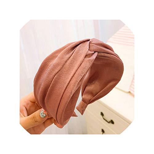 Knot Turban Solid Elastic Hair Head Hoop Bands Accessories Headband Wide Headdress,Pink