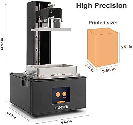 LONGER Orange 10 Impresora 3d,Impresora 3D de Resina SLA con Pantalla Táctil a Color, Iluminación LED Paralela, Impresión Fuera de Línea, Advertencia ...