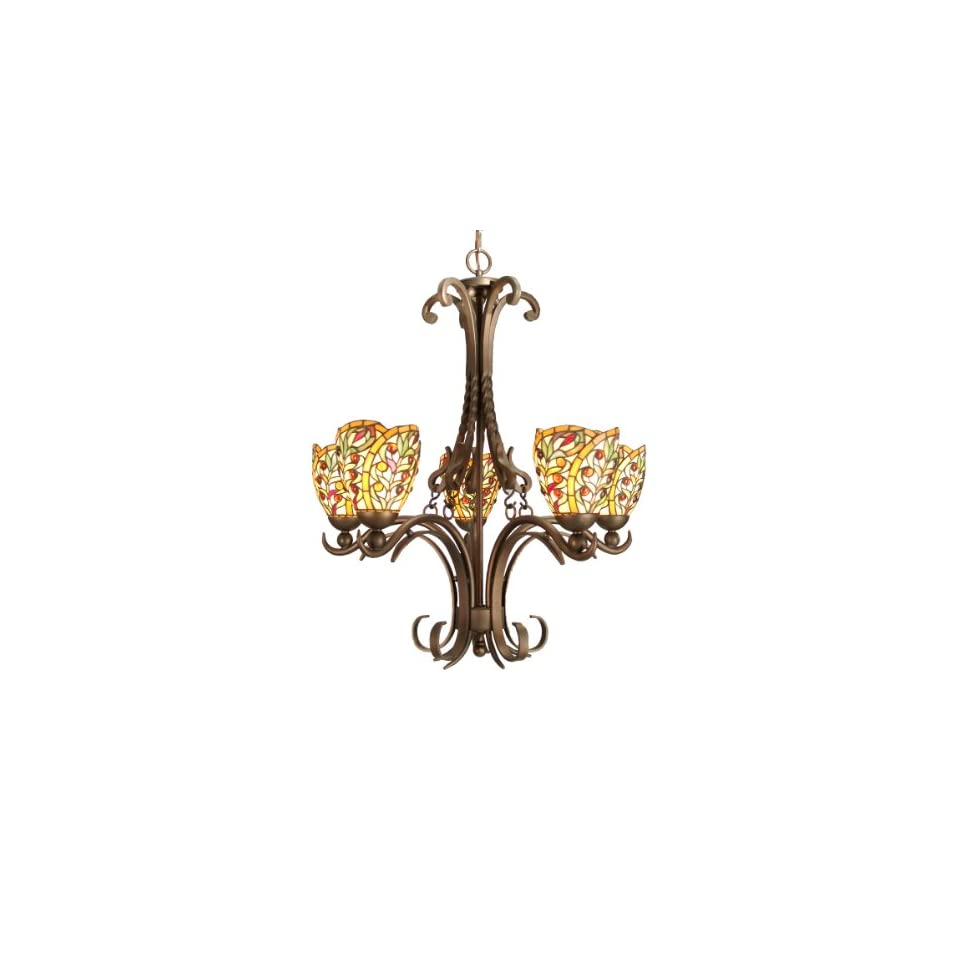 Dale Tiffany TH50112 Sir Lawrence Light Chandelier, Antique Bronze and Art Glass Shade