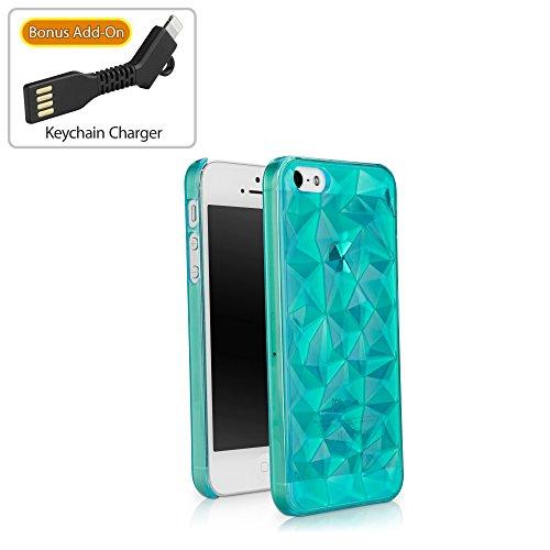 iPhone SE Case, BoxWave [RazMaDaz Case with BONUS Keychain Charger] Hard Shell Case w/ Girly, Faceted Diamond Design for Apple iPhone SE, 5s, 5 - Aquamarine (Five Faceted Gemstone)