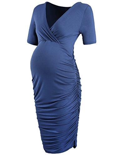 CareGabi Womens Wrap Maternity Bodycon Dress Breastfeeding Nursing Dresses