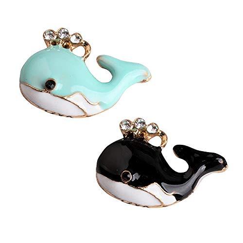 M262-E 8pcs New Cute Blue Black Whale Bracelet Charms Pendants Wholesale