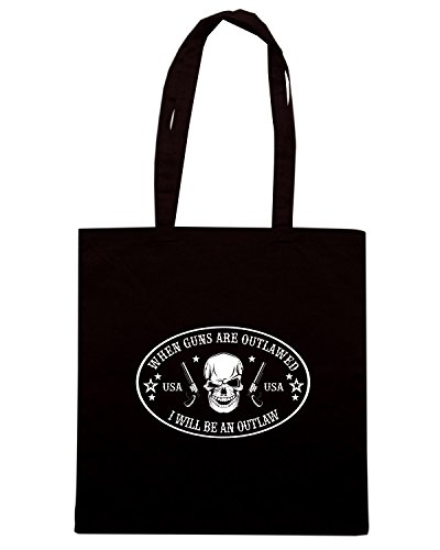 T-Shirtshock - Bolsa para la compra TM0664 bi 1 when guns are outlawed Negro