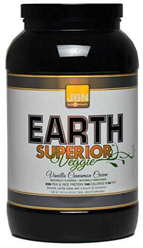 Poudre de protéine de Vegan de JBN terre supérieure Veggie. Facile, hautement digestibles, Vegan Shake 23 grammes de protéines pour hommes & femmes haute qualité Protein Shake délicieux mélanges instantanément Pea Protein protéine de riz.