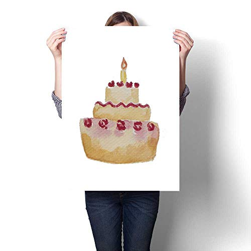 Anshesix Modern Canvas Painting Wall Art Watercolor Painting Birthday Cake with Cream Rose Topping and one Candle Wall Stickers 32