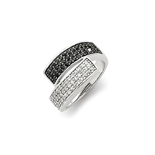925 Sterling Silver Black Clear Cubic Zirconia Cz Overlapping Band Ring Size 8.00 Fine Jewelry Gifts For Women For Her (Skull Silver Pewter Ring)