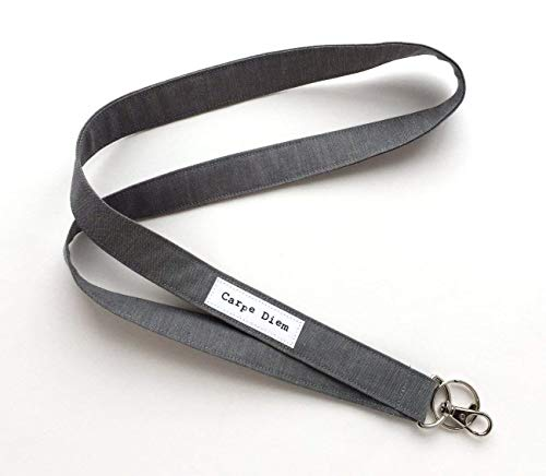 Long Lanyard with Quote - Carpe Diem - Keychain, USB, ID Name Badge Holder made from Organic -