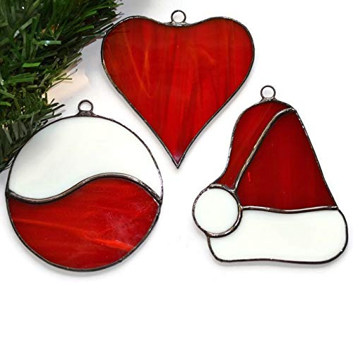 Amazon Com Stained Glass Christmas Ornaments Set Of 3 Santa