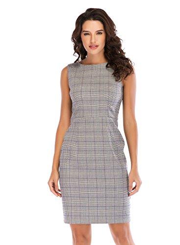 Lefancy Women's Summer Sleeveless O-Neck Plaid Office Work Sheath Dress (M, D) -