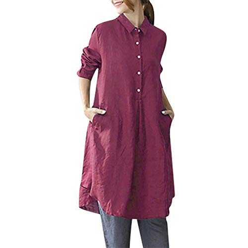 (JustWin Women's Long Sleeve Solid Color Dress Summer Casual Turn-Down Collar Beach Dress Red)
