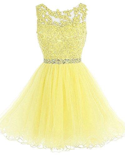 Homecoming Mini Short Prom Women's Dress Beaded Appliques Bridal Daffodil Lace Bess ZAY884