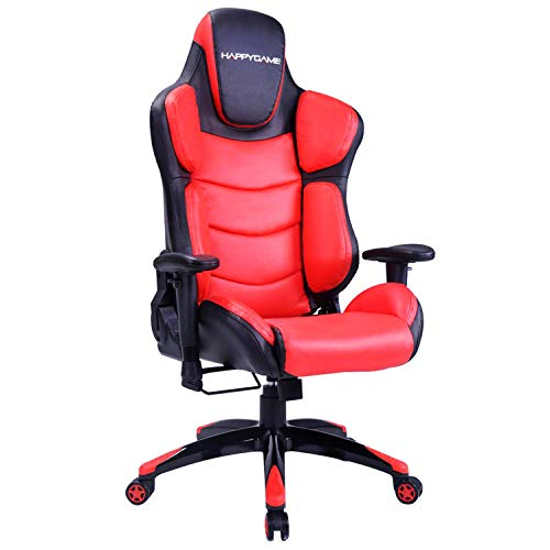 HAPPYGAME Large Size Racing Gaming Chair 350 lbs Capacity Ergonomic High Back Office PC Computer Desk Chairs PU Leather Executive Office Chair, Red