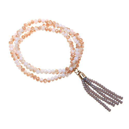 Mosong Bohemian Stretch Bracelets For Women Girls With Multi Colors Handmade Tassel (White Opal And Grey)