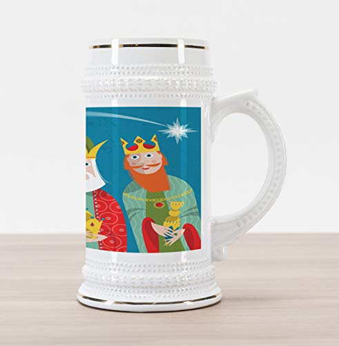 Ambesonne Ancient Beer Stein Mug, Three Wise Men in Traditional Costumes Vintage Christmas Holiday Illustration, Traditional Style Decorative Printed Ceramic Large Beer Mug Stein, Multicolor