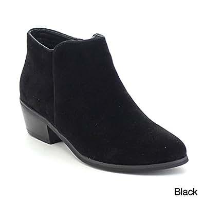 Reneeze Womens Beauty-03 Sneaker Petty Stacked Heel Side Zipper Ankle Booties,Black,6