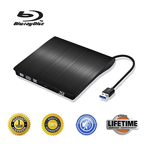 External Blu Ray CD Drive USB 3.0 3D Blu-ray DVD Player Portable DVD CD Burner/Writer/Reader BD-ROM for PC Computer Notebook (Black/) (Best Portable Blu Ray Burner)