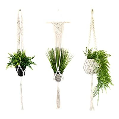 Macrame Plant Hangers Set of 3 - Modern Design - Handmade Organic Cotton Plant Holder Home Decor - Succulent Flower Pot - Good for Patio, Room, Balcony, Bedroom and Kitchen - Gift Box Included: Garden & Outdoor