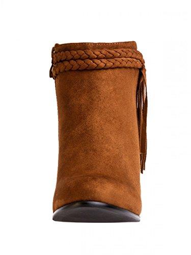 CASPAR Fringed Camel Women Boots Ankle SBO063 rTAqaxrZw