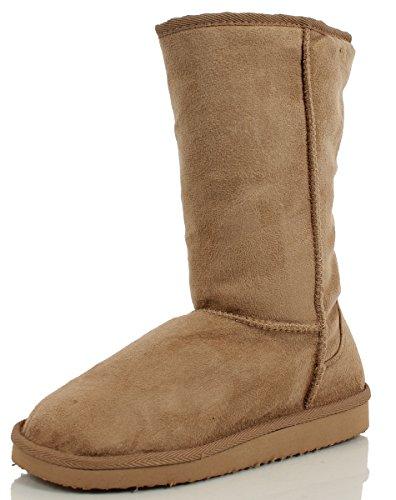 Soda Frauen Soong Comfort Faux Wildleder Fell Mitte-Kalb Flachen Stiefel, Nat, 8 M US Nat Imsu