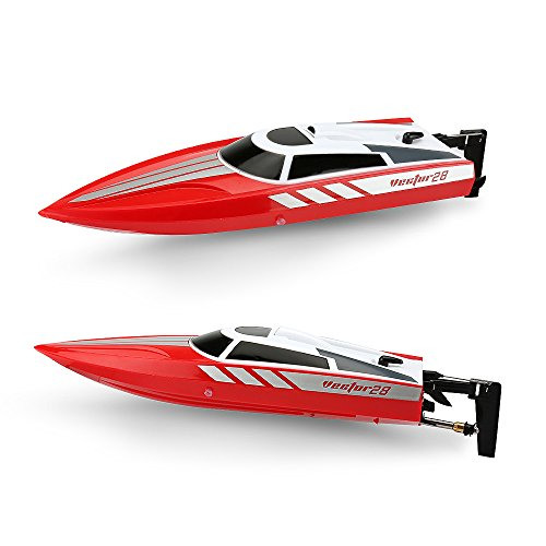 Hobby Toyz Remote Control Boat For Pools  Lakes And Outdoor Adventure   2 4Ghz High Speed 30 Mph Electric Rc Boat  Red