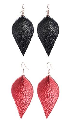Real Genuine Leather Leaf Teardrop Feather Dangle Earrings for Women Girls