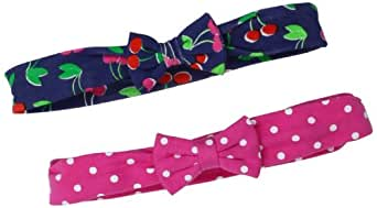 Carter's Hosiery Baby-Girls Newborn 2 Pack Dot Cherry Interlock Headwrap, Pink/White/Navy, One Size