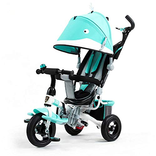 GHDE& Kids Easy Steer Tricycle Cartoon Paragraph Buggy Stroller with Oxford Cloth Pedal and Sun Canopy, Back Storage - Max Load (Best Joe's Usa Baby Strollers)