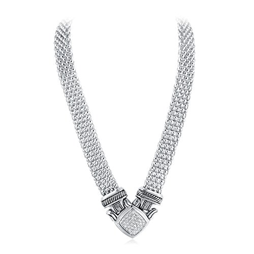 UNY Short Necklace 48cm Popcorn chain Pave Rhinestone Classic Elegant Vintage Antique Jewelry (Silver)
